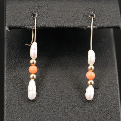 14K Pearl and Coral Earrings