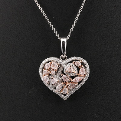 18K 1.63 CTW Diamond Heart Cluster Pendant Necklace with GIA Report