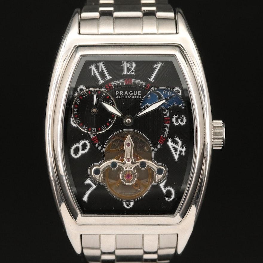 Prague Automatic Stainless Steel Skeleton Wristwatch