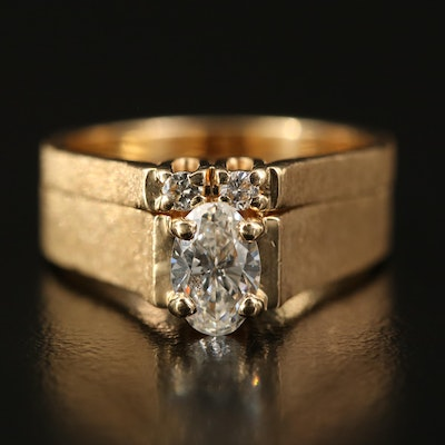 14K Diamond Ring and Band Set with Textured Details