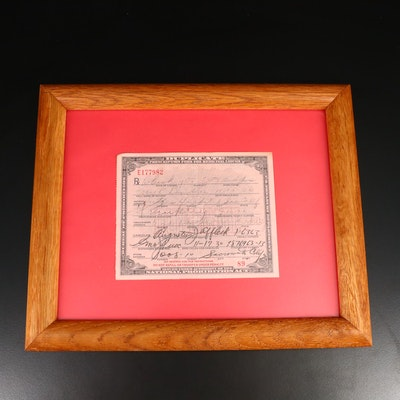 National Prohibition Act Medicinal Liquor Prescription Form Duplicate, 1930