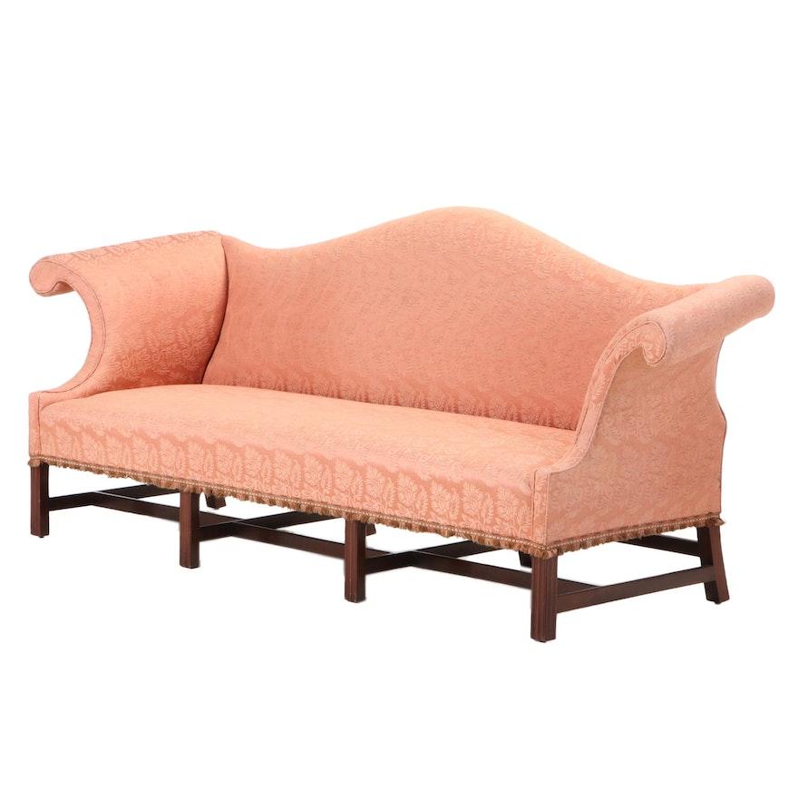 Chippendale Style Custom-Upholstered Mahogany Camel-Back Sofa, 20th Century