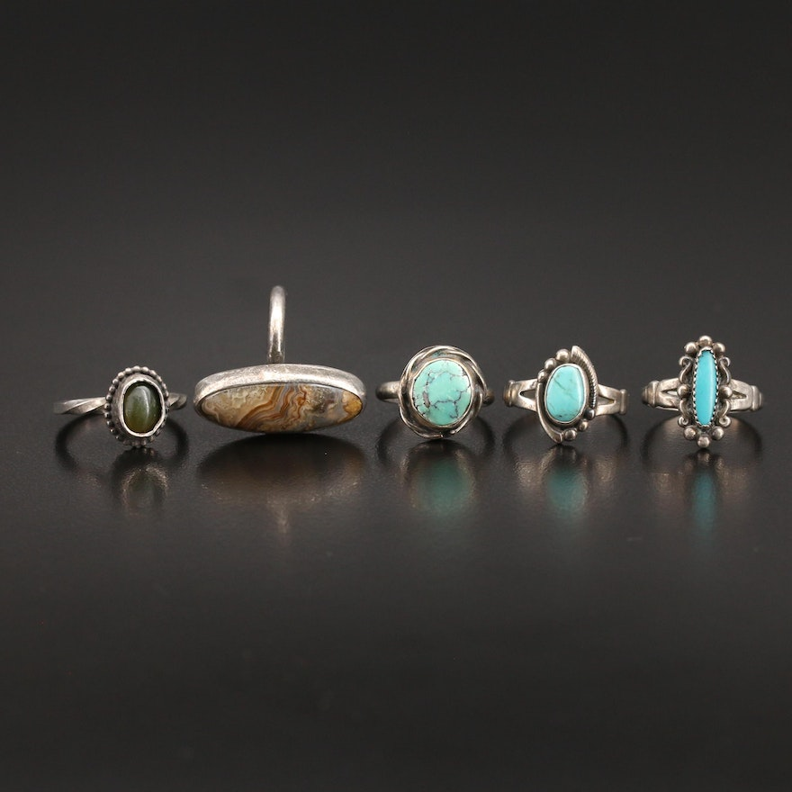 Stering Gemstone Rings Including Bell Trading Post