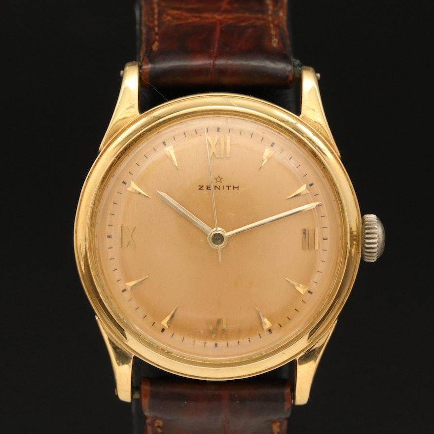 Vintage Zenith 18K Yellow Gold Stem Wind Wristwatch