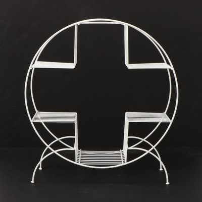 White Painted Cross-Shaped Wire Standing Display and Storage Shelf