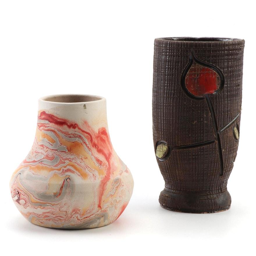 Nemadji Pottery Vase with Italian Incised Ceramic Vase, Mid to Late 20th Century