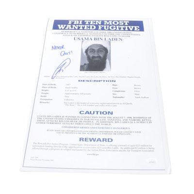 """Robert O'Neill Signed Usama Bin Laden """"Never Quit"""" FBI Poster Print, JSA"""