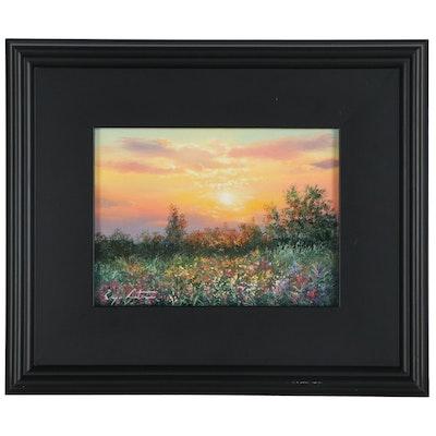 "Jevgenijus Litvinas Landscape Oil Painting ""Field Flowers,"" 2021"