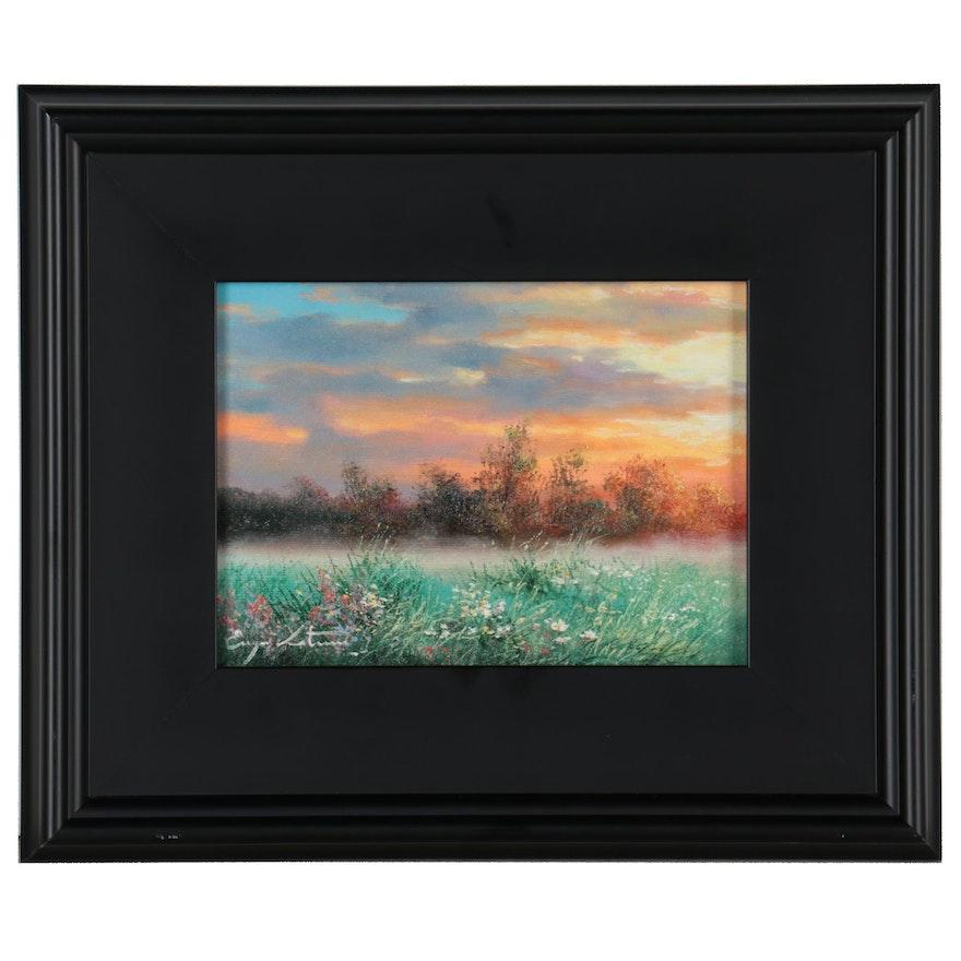 """Jevgenijus Litvinas Oil Painting """"Evening Sky,"""" 2021"""