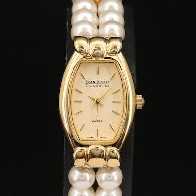 Joan Rivers Classic Gold Tone and Pearl Quartz Wristwatch