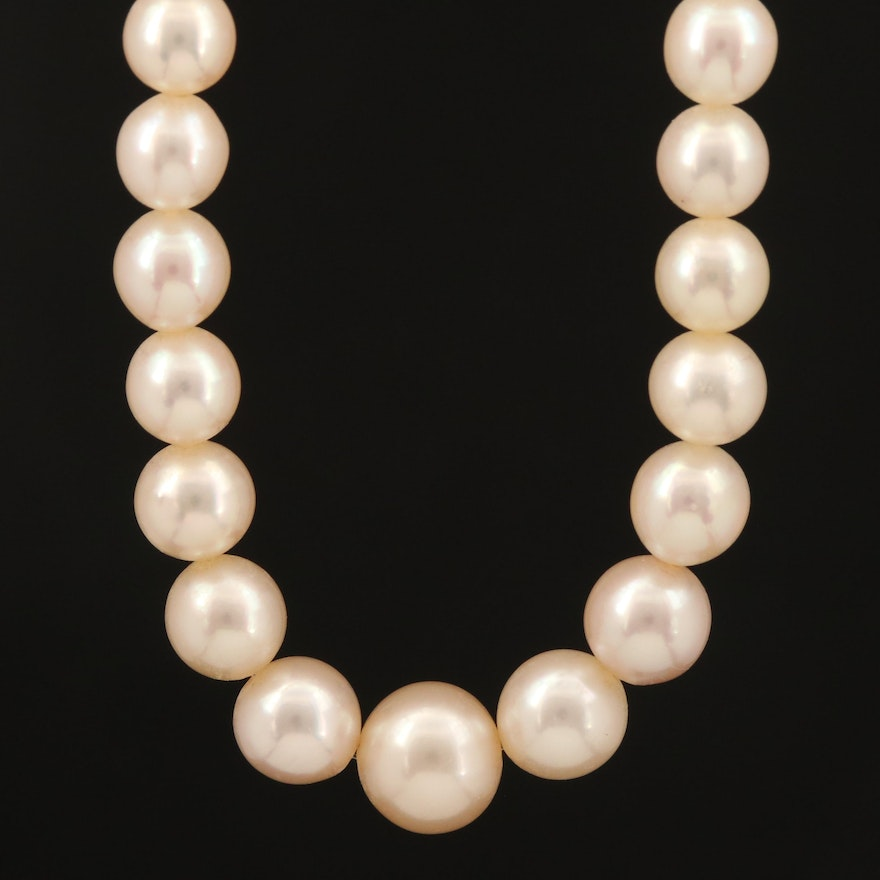 Graduated Hank of Pearls with Platinum and 14K Clasp