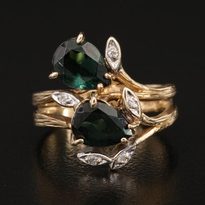 14K Tourmaline and Diamond Foliate Motif Ring