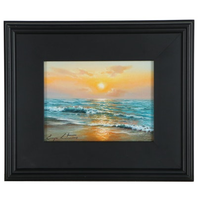 "Jevgenijus Litvinas Oil Painting ""Warm Sunset,"" 2021"