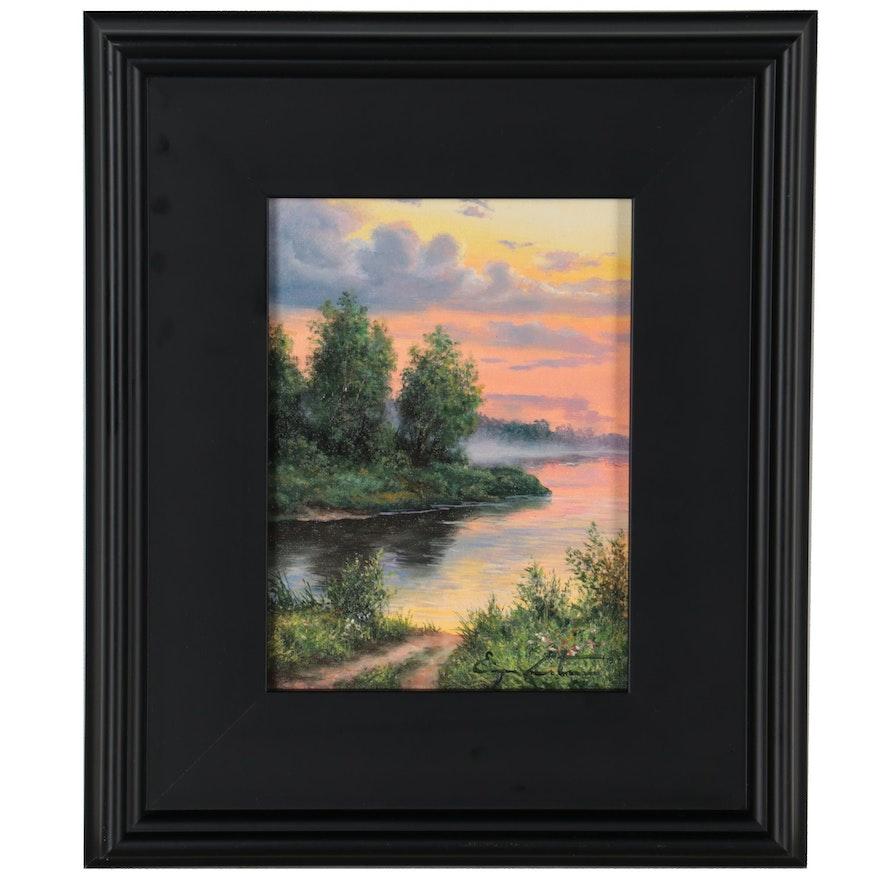 "Jevgenijus Litvinas Landscape Oil Painting ""Evening by the Lake,"" 2021"