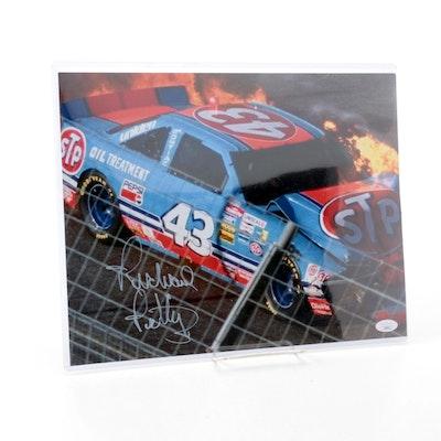 Richard Petty Signed #43 STP NASCAR Race Car Photo Print, JSA COA