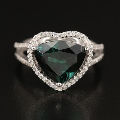 Hana 18K 3.51 CT Tourmaline with Diamond Heart Halo Ring
