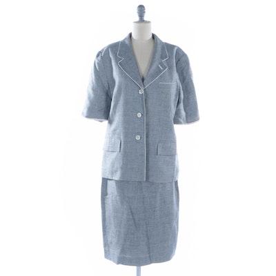 Louis Feraud Grey Micro Houndstooth Linen Skirt Suit