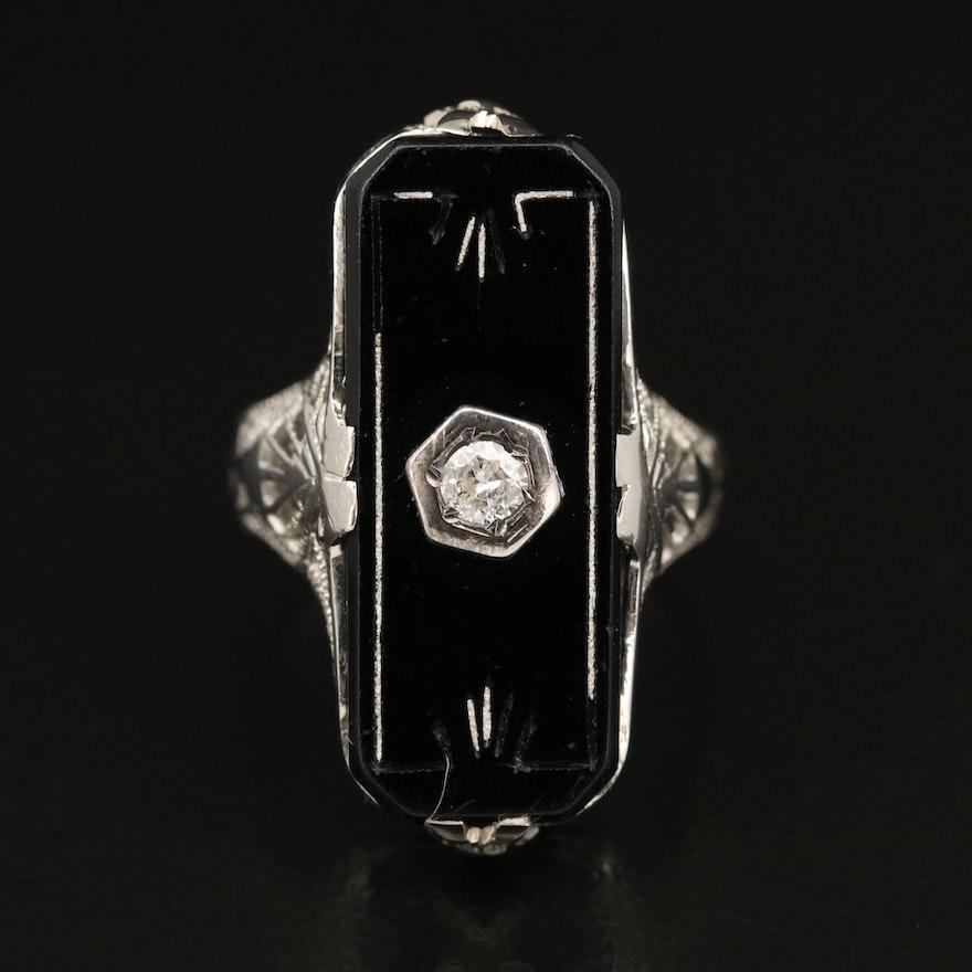 1930s Art Deco 18K Diamond and Black Onyx Filigree Ring