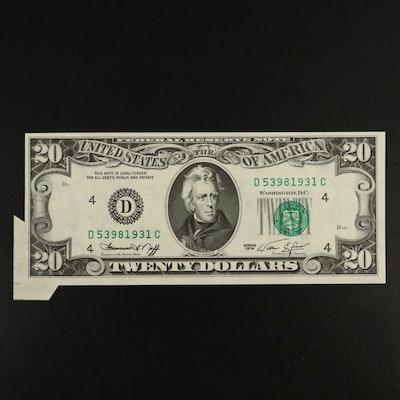 Mis-Cut Series 1974 $20 Federal Reserve Note