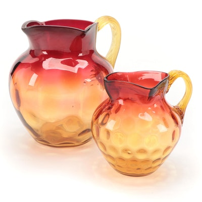Amberina Coin Dot Optic Style Pitchers, Early to Mid 20th Century