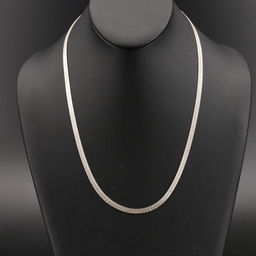 Milor Italian Sterling Patterned Herringbone Chain Necklace