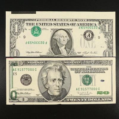 Offset Printing Error and Inverted Overprint Error Federal Reserve Notes
