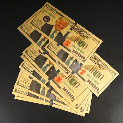 Ten 24K Gold Donald Trump Novelty 1000 Dollar Certificate