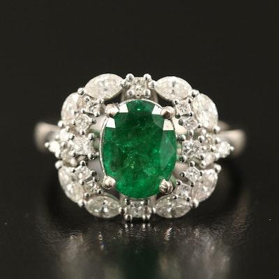 14K 1.74 CT Emerald and Diamond Ring
