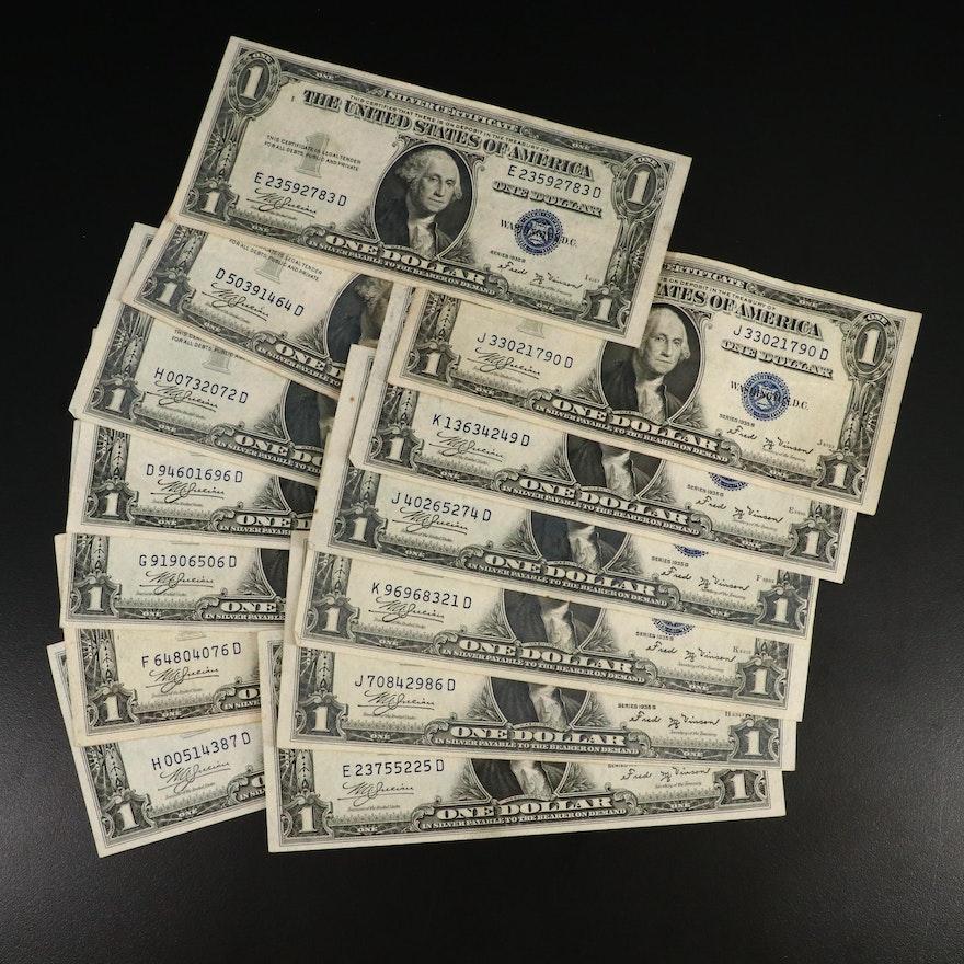 Thirteen Series 1935B $1 Silver Certificates