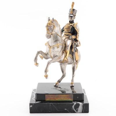 Johann Maria Phillip Frimont on Horseback Silvered and Gilt Bronze Figruine