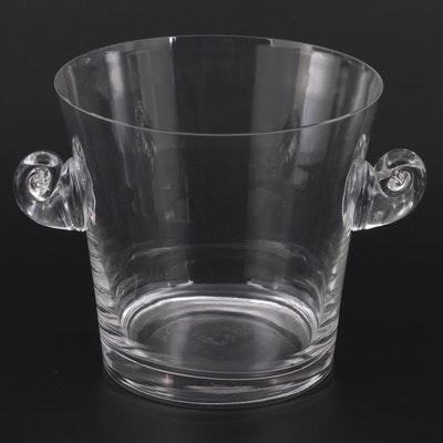 """Tiffany & Co. """"Scroll Handled"""" Crystal Ice Bucket"""