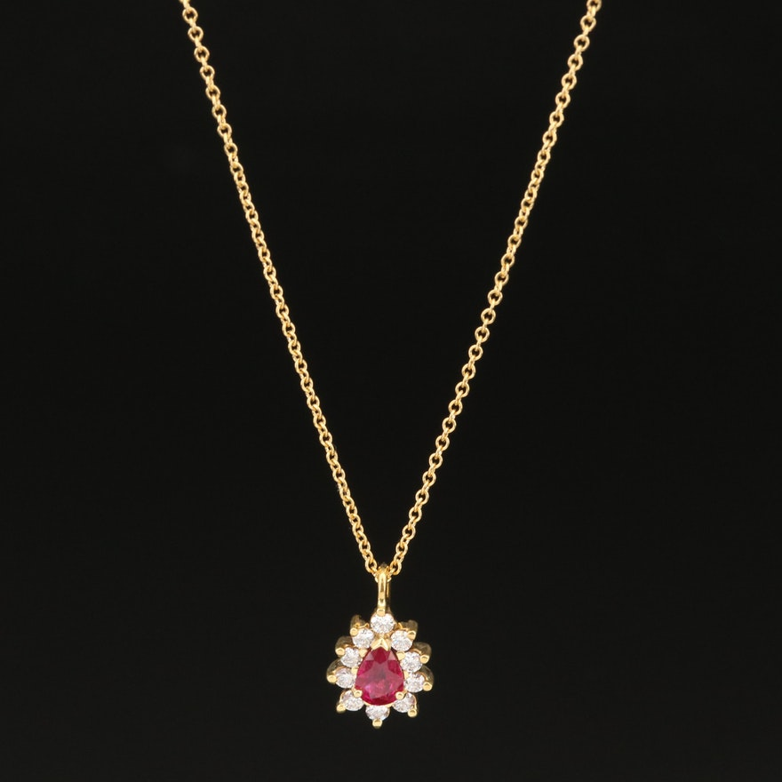 Tiffany & Co. 18K Ruby and Diamond Pendant Necklace
