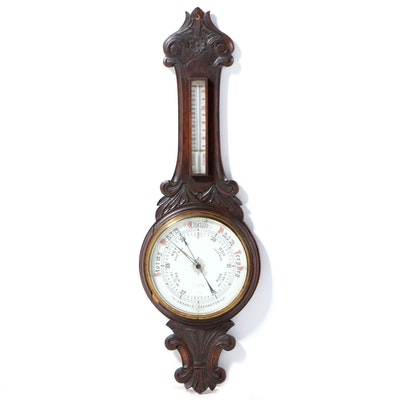Carved Oak Thermometer and Aneroid Barometer, Early/Mid 20th Century