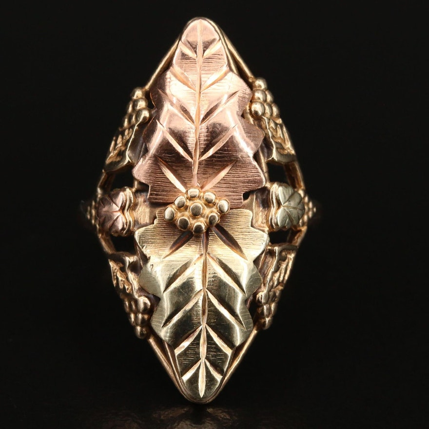 Coleman Co. Black Hills Gold 10K Foliate Ring