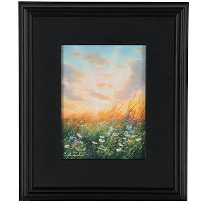 "Jevgenijus Litvinas Oil Painting ""Morning in the Field,"" 2021"