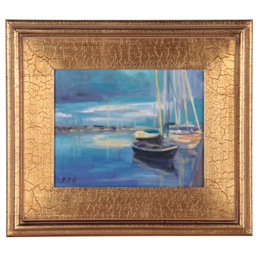 """Peter Chorao Oil Painting of Harbor Scene """"Boats, Dramatic Light,"""" 2021"""