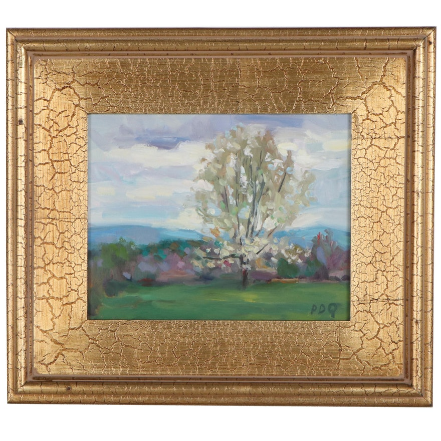 """Peter Chorao Oil Painting """"Spring Landscape,"""" 2021"""