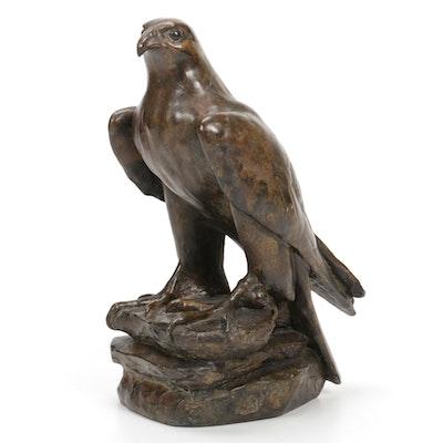 Bronze Finish Composite Falcon Sculpture