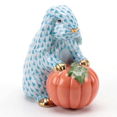 """Herend Fishnet with Gold """"Autumn Bunny"""" Porcelain Figurine"""