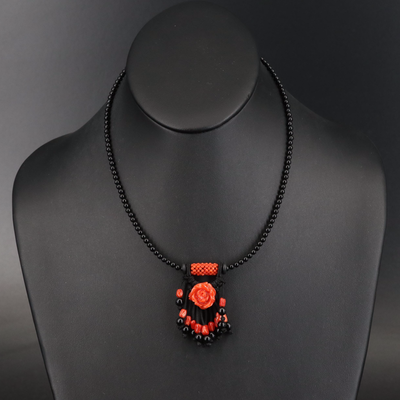Sterling Coral, Black Onyx and Glass Necklace