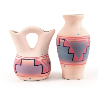 Artist Signed Hand-Painted Navajo Pottery Wedding and Other Vases
