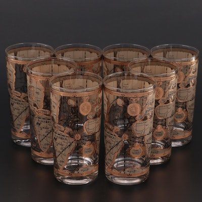 """Cera """"Maps"""" Gilt Decorated Highball Glasses, Late 20th Century"""