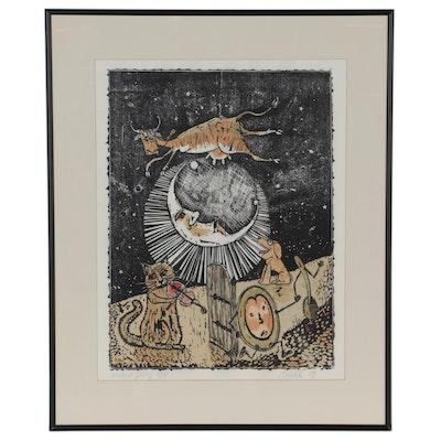 "Gary Birch Woodcut ""Cow Jump Over Moon,"" 1989"