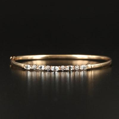 10K Aquamarine and Diamond Hinged Bangle