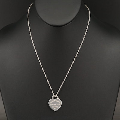 """Tiffany & Co. """"Return To Tiffany"""" Sterling Heart Tag Necklace"""
