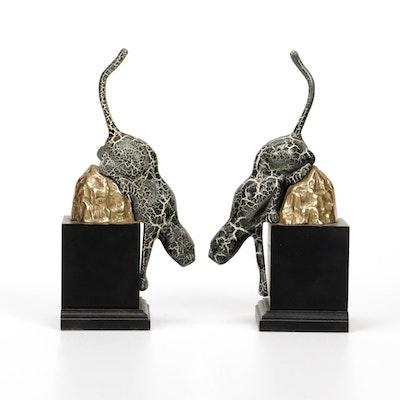 Jaguar Metal Pedestal Bookends