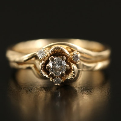 14K Diamond Floral Ring and Band Set