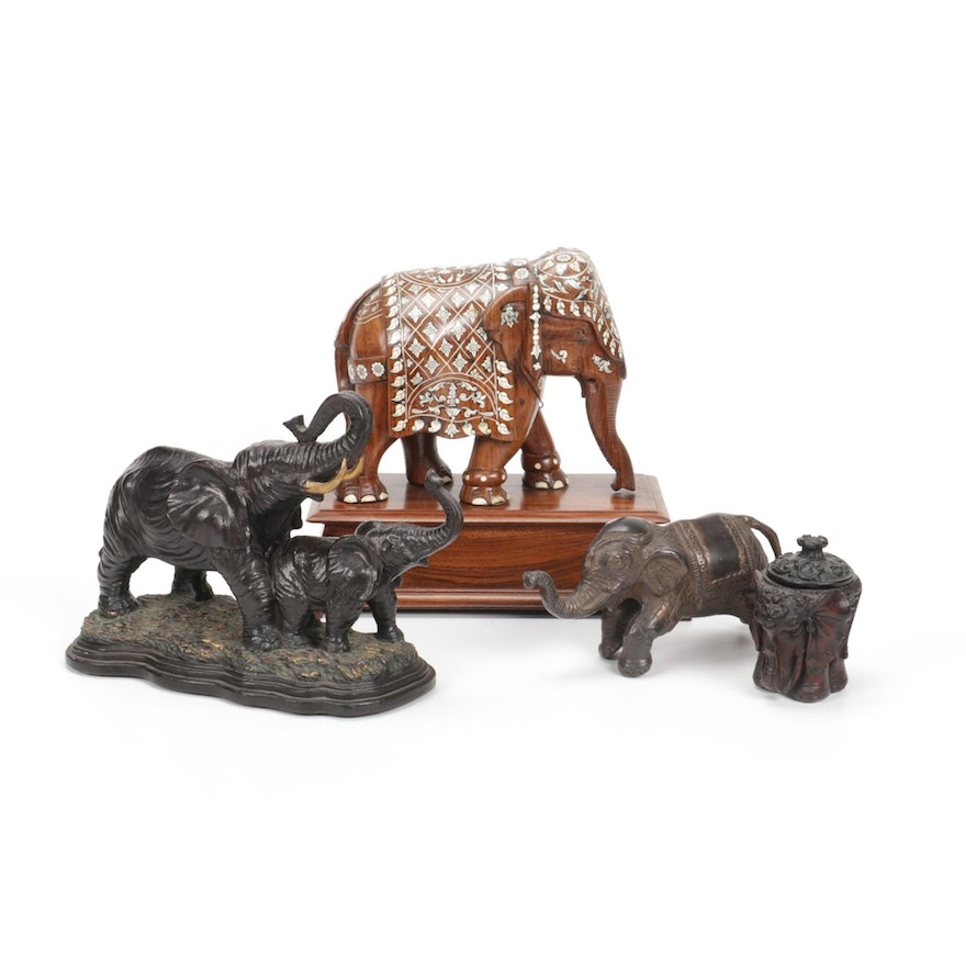Wood, Metal and Resin Elephant Figurines and Decorative Boxes