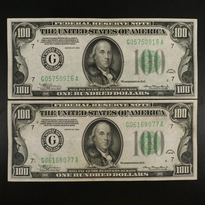 Two Series 1934 $100 Federal Reserve Notes