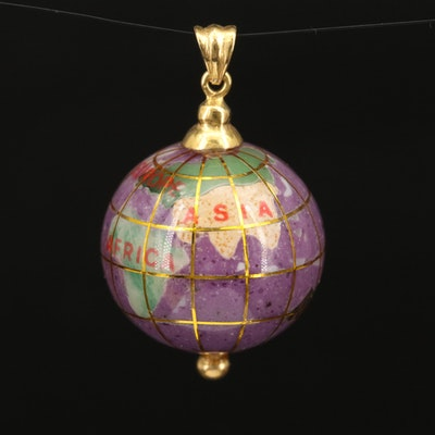 14K Enamel and Inlaid Gemstone Globe Pendant